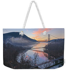 Foggy Dawn At Three Bridges Weekender Tote Bag