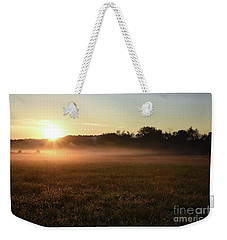 Foggy Field At Sunrise Weekender Tote Bag