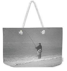 Foggy Fisherman In Bw Weekender Tote Bag