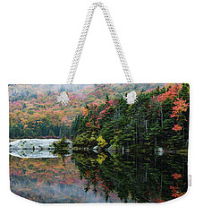 Weekender Tote Bag featuring the photograph Foggy Foliage Morning Kinsman Notch by Jeff Folger