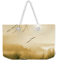 Foggy Lake And Three Couple Of Birds Weekender Tote Bag