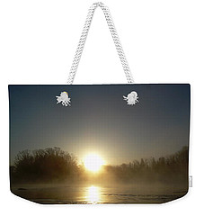 Weekender Tote Bag featuring the photograph Foggy Mississippi River Sunrise by Kent Lorentzen