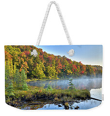 Weekender Tote Bag featuring the photograph Foggy Morning On The Pond by David Patterson
