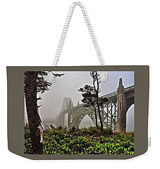 Weekender Tote Bag featuring the photograph A Foggy Morning On Yaquina Bay by Thom Zehrfeld