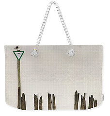 Weekender Tote Bag featuring the photograph Foggy Morning Texture Keyport Harbor by Gary Slawsky