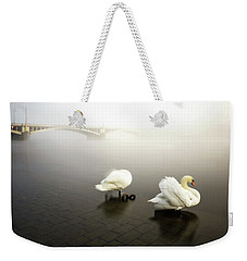 Foggy Morning View Near Bridge With Two Swans At Vltava River, Prague, Czech Republic Weekender Tote Bag