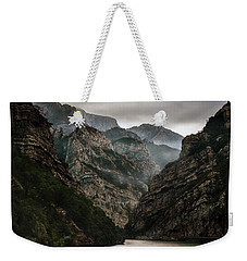 Foggy Mountains Over Neretva Gorge Weekender Tote Bag