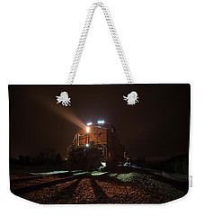 Weekender Tote Bag featuring the photograph Foggy Night Train  by Aaron J Groen