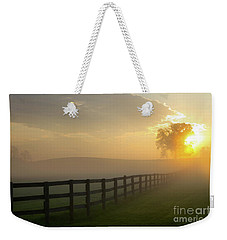 Foggy Pasture Sunrise Weekender Tote Bag