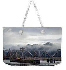 Foggy Rail Crossing Weekender Tote Bag