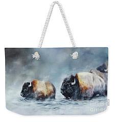 Foggy River Crossing Weekender Tote Bag
