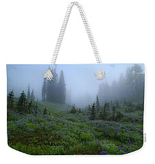 Weekender Tote Bag featuring the photograph Foggy Skyline Trail At Mount Rainier by Lynn Hopwood