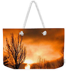 Weekender Tote Bag featuring the photograph Foggy Sunrise by Sumoflam Photography