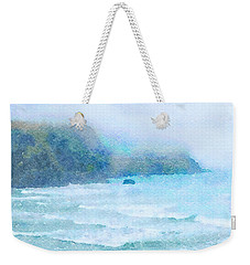 Weekender Tote Bag featuring the painting Foggy Surf by Angela Treat Lyon