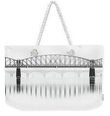 Foggy Winter Mood At Vltava River. Reflection Of Bridges In Water. Black And White Atmosphere, Prague, Czech Republic Weekender Tote Bag