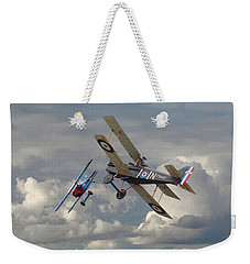 Weekender Tote Bag featuring the digital art Fokker Dvll And Se5 Head To Head by Pat Speirs