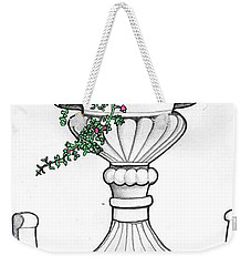 Weekender Tote Bag featuring the drawing Foliage Fountain by Mary Ellen Frazee