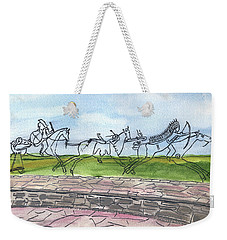 Weekender Tote Bag featuring the painting Follow Me by Linda Feinberg