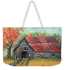 Weekender Tote Bag featuring the painting Follow The Lantern - Early Morning Barn- Anne's Barn by Jan Dappen