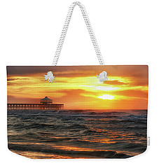 Folly Beach Pier Sunrise Weekender Tote Bag