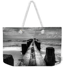 Folly Beach Pilings Charleston South Carolina In Black And White  Weekender Tote Bag