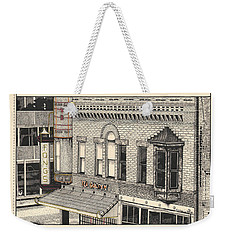 Weekender Tote Bag featuring the drawing Fongs Tea Garden by Chholing Taha