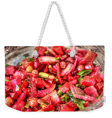 Weekender Tote Bag featuring the pyrography Food Salad Tomatoes by Yury Bashkin