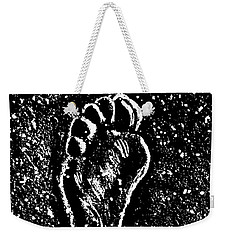 Weekender Tote Bag featuring the drawing Foot by Andrzej Szczerski