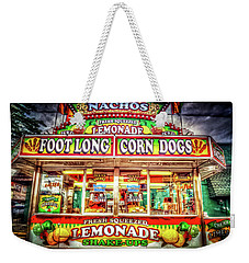 Weekender Tote Bag featuring the photograph Foot Long Corn Dogs by Spencer McDonald