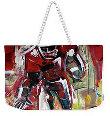 Weekender Tote Bag featuring the painting Football Run by John Jr Gholson