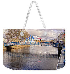Footbridge Over The Garavogue River In Sligo With Reflections And Swans Sheltering Beneath It Weekender Tote Bag
