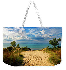 Weekender Tote Bag featuring the painting Footprints In The Sand P D P by David Dehner