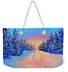 Weekender Tote Bag featuring the painting Footprints In The Snow by Li Newton
