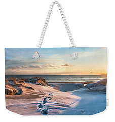 Weekender Tote Bag featuring the photograph Footprints In The Snow by Robin-Lee Vieira
