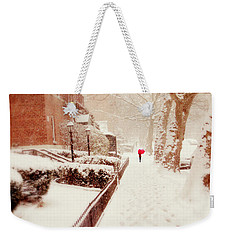 Weekender Tote Bag featuring the photograph The Red Umbrella by Jessica Jenney