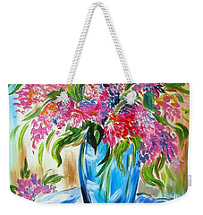 For The Love Of Flowers In A Blue Vase Weekender Tote Bag