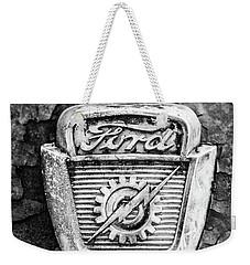 Ford Emblem On A Rusted Hood Verticle Weekender Tote Bag