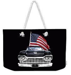 Ford F100 With U.s.flag On Black Weekender Tote Bag