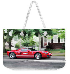 Weekender Tote Bag featuring the photograph Ford Gt Entering Lake Mills by Joel Witmeyer