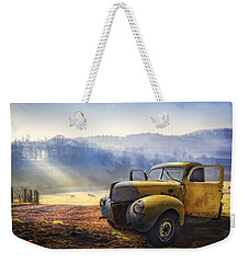 Ford In The Fog Weekender Tote Bag by Debra and Dave Vanderlaan