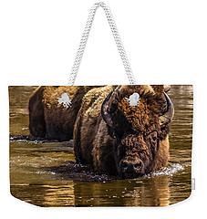 Weekender Tote Bag featuring the photograph Fording The Madison River by Yeates Photography