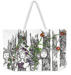 Weekender Tote Bag featuring the drawing Forest Faces by Cathie Richardson