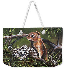 Weekender Tote Bag featuring the painting Forest Friend by Kim Lockman