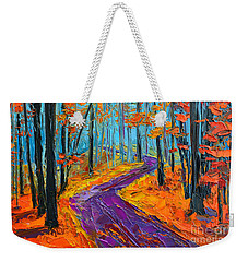 Weekender Tote Bag featuring the painting Autumn Forest And Purple Path - Orange Red Foliage - Modern Impressionist Knife Palette by Patricia Awapara