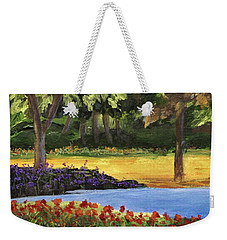 Weekender Tote Bag featuring the painting Forest Lake by Jamie Frier