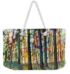 Weekender Tote Bag featuring the painting Forest Light by Hailey E Herrera