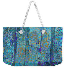 Weekender Tote Bag featuring the photograph Forest Morning Light Blue by Suzanne Powers