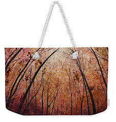 Weekender Tote Bag featuring the painting Forest Path by Hailey E Herrera