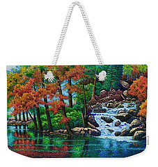 Weekender Tote Bag featuring the painting Forest Stream II by Michael Frank