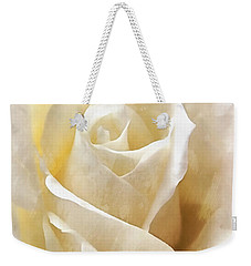 Weekender Tote Bag featuring the photograph Forever More - Ivory Rose by Janine Riley